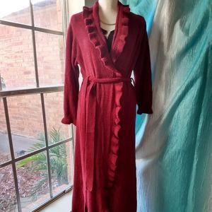 Burgundy chenille ruffle robe